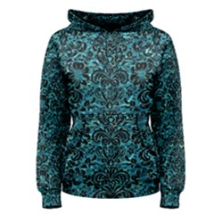 Damask2 Black Marble & Blue Green Water (r) Women s Pullover Hoodie