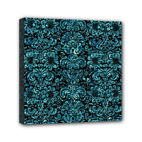 Damask2 Black Marble & Blue Green Water Mini Canvas 6  X 6  (stretched) by trendistuff
