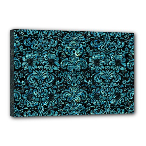 Damask2 Black Marble & Blue Green Water Canvas 18  X 12  (stretched) by trendistuff