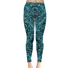 Damask1 Black Marble & Blue Green Water (r) Leggings  by trendistuff