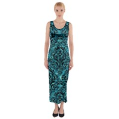 Damask1 Black Marble & Blue Green Water (r) Fitted Maxi Dress