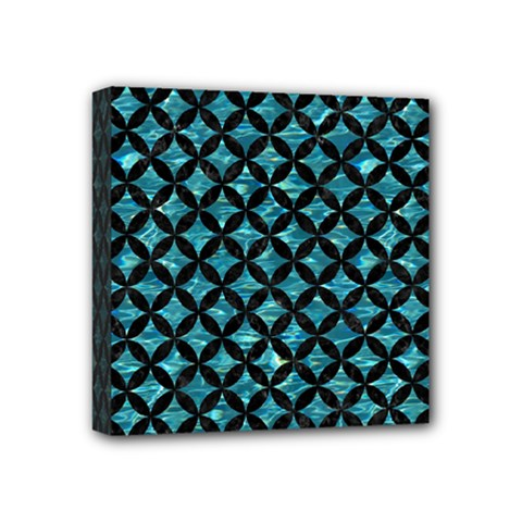 Circles3 Black Marble & Blue Green Water (r) Mini Canvas 4  X 4  (stretched) by trendistuff