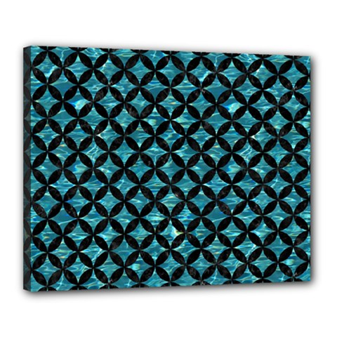Circles3 Black Marble & Blue Green Water (r) Canvas 20  X 16  (stretched) by trendistuff