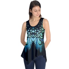 Blue And Green Feather Collier Sleeveless Tunic by UnicornFashion