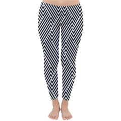 Escher Striped Black And White Plain Vinyl Classic Winter Leggings by Mariart