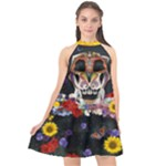 The Sugar Skull  - Halter Neckline Chiffon Dress