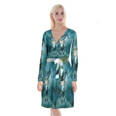The Billy Goat  Skull With Feathers And Flowers Long Sleeve Velvet Front Wrap Dress