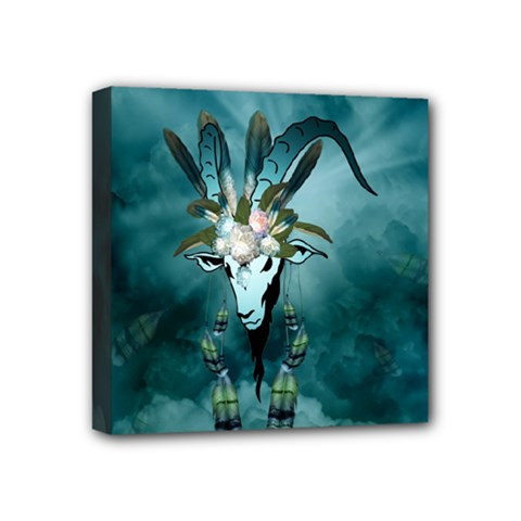 The Billy Goat  Skull With Feathers And Flowers Mini Canvas 4  X 4  by FantasyWorld7