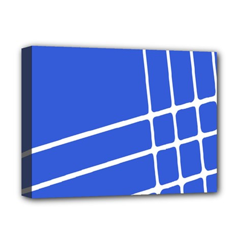 Line Stripes Blue Deluxe Canvas 16  X 12   by Mariart