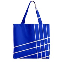 Line Stripes Blue Grocery Tote Bag by Mariart