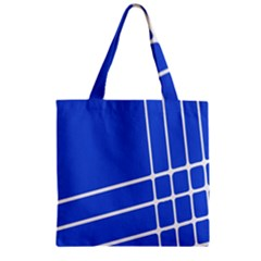 Line Stripes Blue Zipper Grocery Tote Bag by Mariart