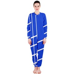 Line Stripes Blue Onepiece Jumpsuit (ladies)  by Mariart