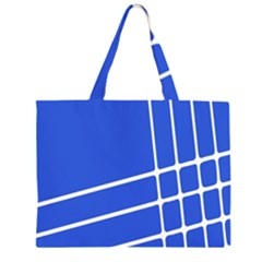 Line Stripes Blue Zipper Large Tote Bag by Mariart