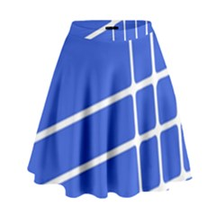 Line Stripes Blue High Waist Skirt by Mariart