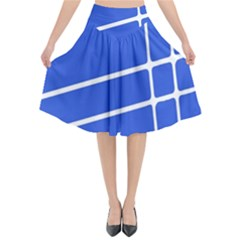 Line Stripes Blue Flared Midi Skirt by Mariart
