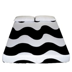 Lokki Cotton White Black Waves Fitted Sheet (california King Size) by Mariart
