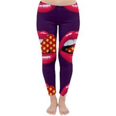 Lip Vector Hipster Example Image Star Sexy Purple Red Classic Winter Leggings by Mariart
