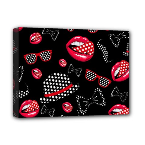 Lip Hat Vector Hipster Example Image Star Sexy Black Red Deluxe Canvas 16  X 12   by Mariart