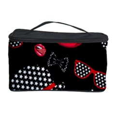 Lip Hat Vector Hipster Example Image Star Sexy Black Red Cosmetic Storage Case by Mariart