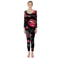 Lip Hat Vector Hipster Example Image Star Sexy Black Red Long Sleeve Catsuit