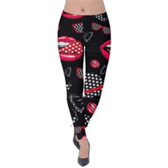 Lip Hat Vector Hipster Example Image Star Sexy Black Red Velvet Leggings by Mariart