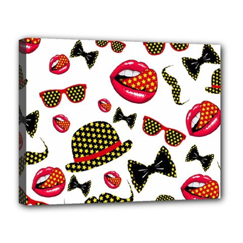 Lip Hat Vector Hipster Example Image Star Sexy Canvas 14  X 11  by Mariart
