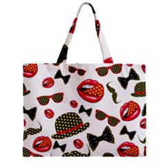 Lip Hat Vector Hipster Example Image Star Sexy Zipper Mini Tote Bag by Mariart