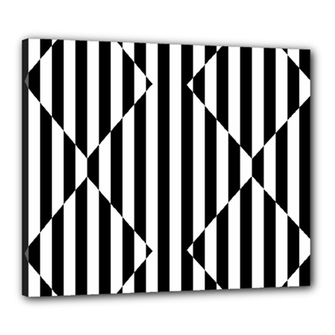 Optical Illusion Inverted Diamonds Canvas 24  X 20  by Mariart