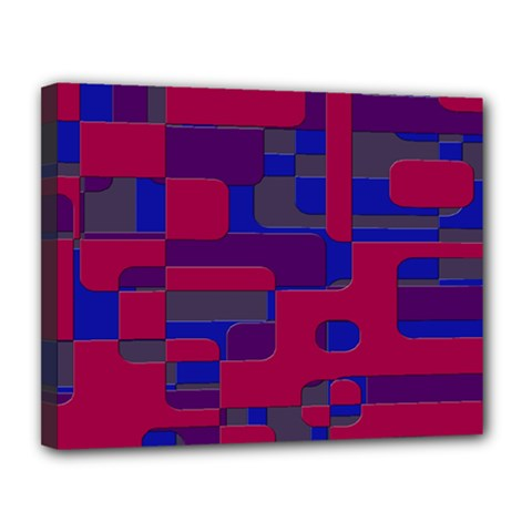 Offset Puzzle Rounded Graphic Squares In A Red And Blue Colour Set Canvas 14  X 11  by Mariart
