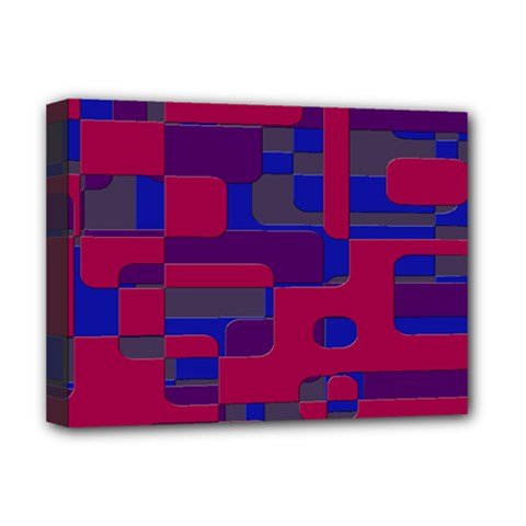 Offset Puzzle Rounded Graphic Squares In A Red And Blue Colour Set Deluxe Canvas 16  X 12   by Mariart