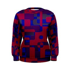 Offset Puzzle Rounded Graphic Squares In A Red And Blue Colour Set Women s Sweatshirt by Mariart
