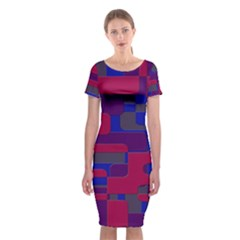 Offset Puzzle Rounded Graphic Squares In A Red And Blue Colour Set Classic Short Sleeve Midi Dress by Mariart