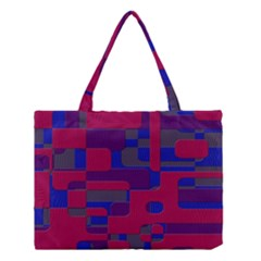Offset Puzzle Rounded Graphic Squares In A Red And Blue Colour Set Medium Tote Bag by Mariart
