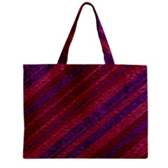 Maroon Striped Texture Zipper Mini Tote Bag by Mariart