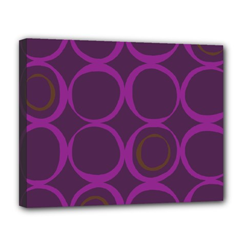 Original Circle Purple Brown Canvas 14  X 11  by Mariart