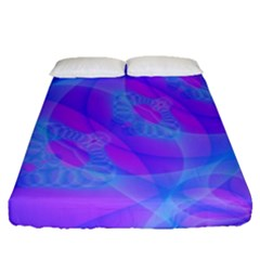 Original Purple Blue Fractal Composed Overlapping Loops Misty Translucent Fitted Sheet (queen Size) by Mariart