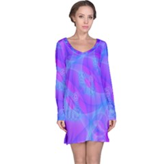 Original Purple Blue Fractal Composed Overlapping Loops Misty Translucent Long Sleeve Nightdress by Mariart