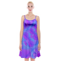 Original Purple Blue Fractal Composed Overlapping Loops Misty Translucent Spaghetti Strap Velvet Dress by Mariart