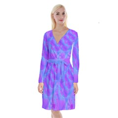 Original Purple Blue Fractal Composed Overlapping Loops Misty Translucent Long Sleeve Velvet Front Wrap Dress by Mariart
