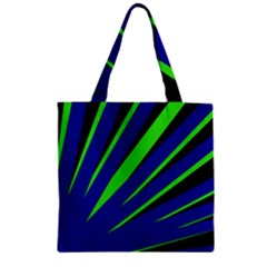 Rays Light Chevron Blue Green Black Zipper Grocery Tote Bag by Mariart