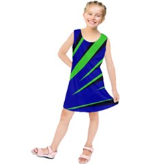 Rays Light Chevron Blue Green Black Kids  Tunic Dress