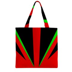 Rays Light Chevron Green Red Black Zipper Grocery Tote Bag by Mariart