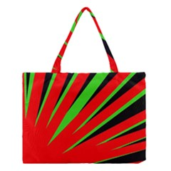 Rays Light Chevron Red Green Black Medium Tote Bag by Mariart