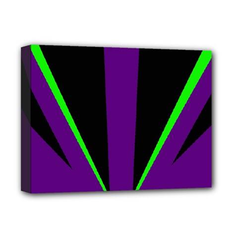 Rays Light Chevron Purple Green Black Line Deluxe Canvas 16  X 12   by Mariart