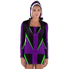 Rays Light Chevron Purple Green Black Line Women s Long Sleeve Hooded T Shirt