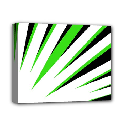 Rays Light Chevron White Green Black Deluxe Canvas 14  X 11  by Mariart