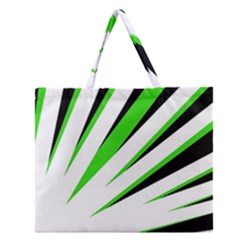 Rays Light Chevron White Green Black Zipper Large Tote Bag by Mariart