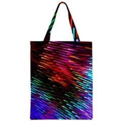 Rainbow Shake Light Line Zipper Classic Tote Bag by Mariart