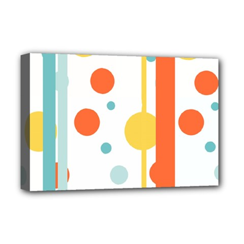 Stripes Dots Line Circle Vertical Yellow Red Blue Polka Deluxe Canvas 18  X 12   by Mariart