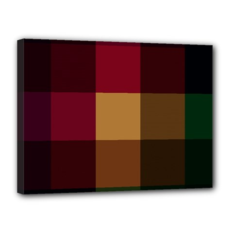 Stripes Plaid Color Canvas 16  X 12  by Mariart